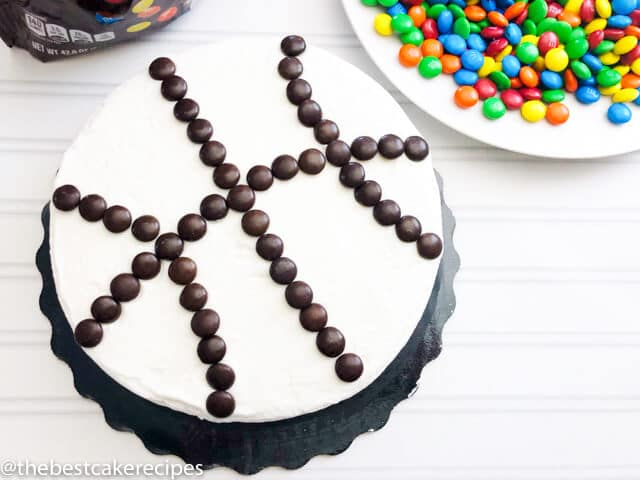 how to make a basketball cake with brown m&ms