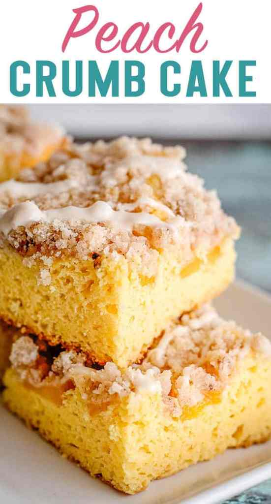 closeup of peach crumb cake with title