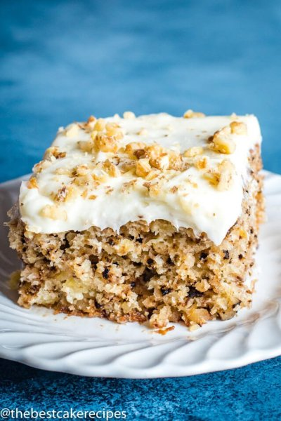 Walnut Pineapple Cake Recipe with frosting and walnuts