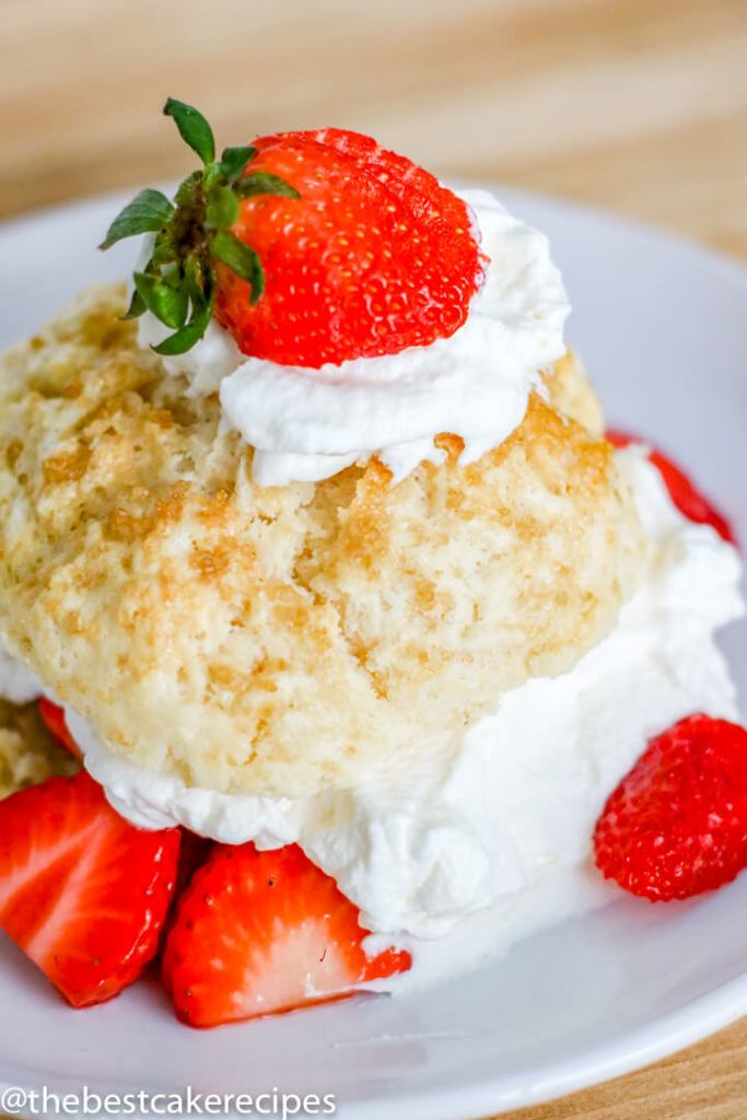 A piece of cake on a plate, with Shortcake and Strawberry