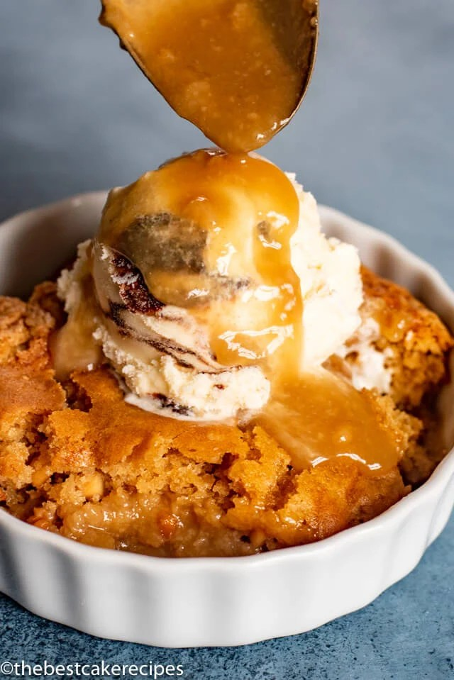Peanut Butter Pudding Cake with ice cream and caramel