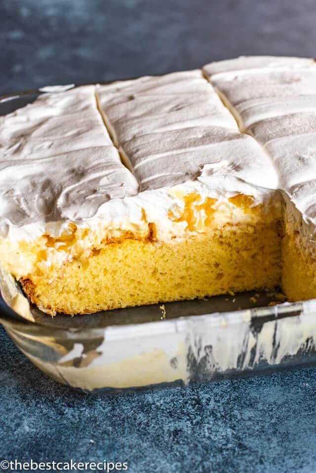 three layer Pineapple Cream Cake in a baking pan