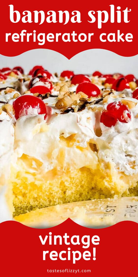 An easy, layered dessert recipe that is perfect for summer! This banana split cake with pudding, fruit and nuts will be the hit of your picnic. #cake #bananasplit #fruit #banana #pudding via @thebestcakerecipes