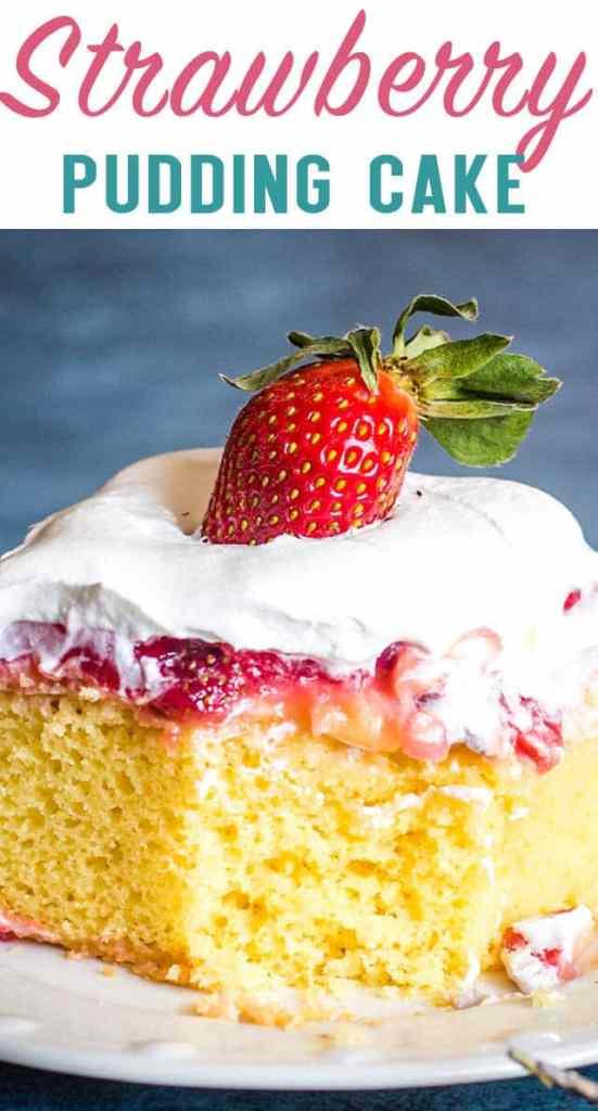 Strawberry Pudding Cake Title Image