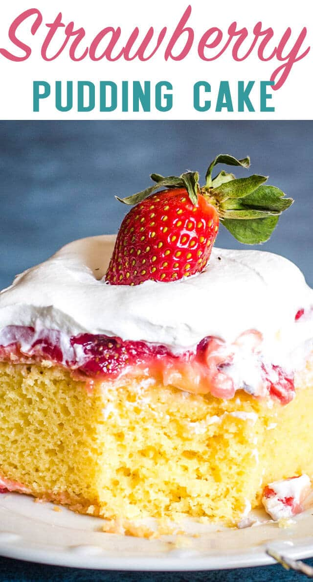 Strawberry Pudding Cake is like having a slice of heaven, right in your own  mouth. With this easy 4 layer cake, it can be cake time, any time! #strawberry #cake #pudding #dessert  via @thebestcakerecipes