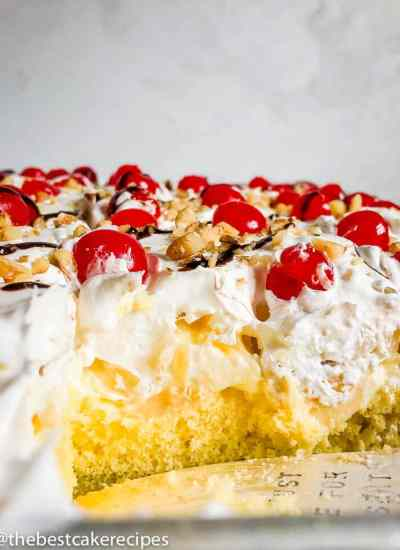 Banana Split Cake Recipe with pudding in baking pan