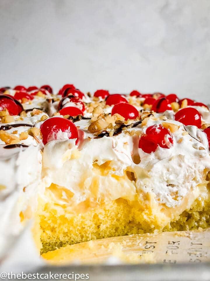 Banana Split Cake Recipe with pudding in baking pan