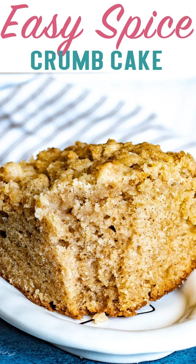 A deliciously simple crumb cake, filled with amazing cinnamon flavor. You'll go crazy for this easy spice crumb cake and the generous amount of streusel on top!! via @thebestcakerecipes