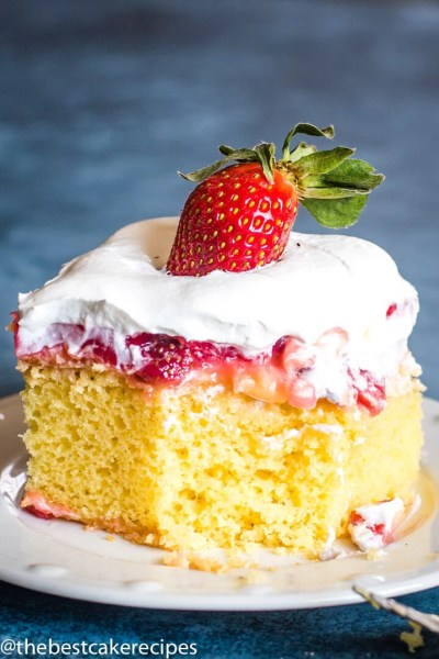 Strawberry Pudding Cake with pudding and strawberries