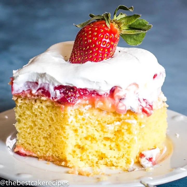 Strawberry Pudding Cake with bite out