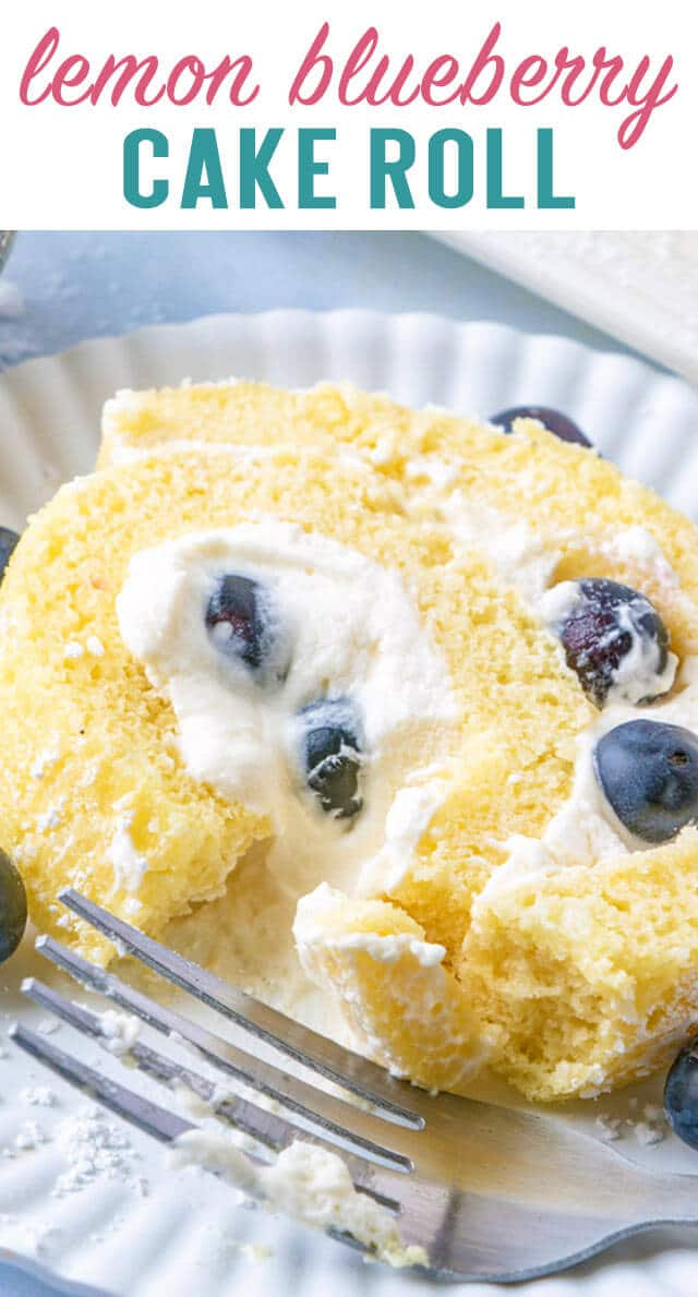 Creamy lemon curd and fresh blueberries fill this Blueberry Lemon Cake Roll! This pretty dessert is easy to make and great for picnics and parties! #cakeroll #cake #lemon #blueberry #dessert  via @thebestcakerecipes