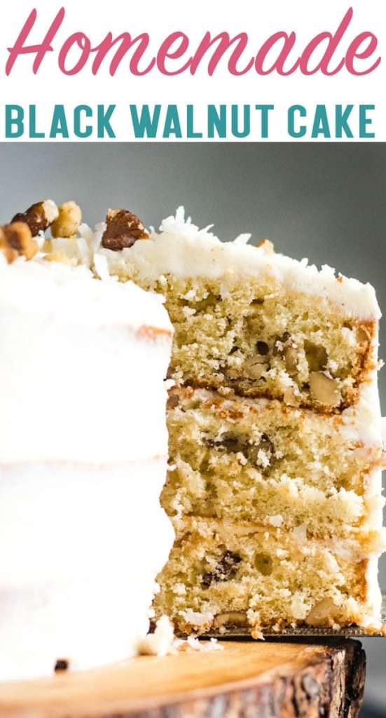 3 layers of delicious cake with that classic black walnut flavor. This Black Walnut Cake with cream cheese frosting is sure to become a favorite!