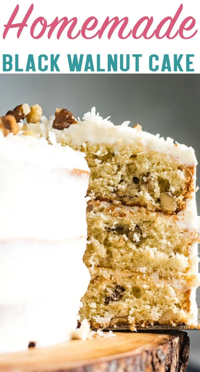 3 layers of delicious cake with that classic black walnut flavor. This Black Walnut Cake with cream cheese frosting is sure to become a favorite! #cake #dessert #layercake #blackwalnut via @thebestcakerecipes