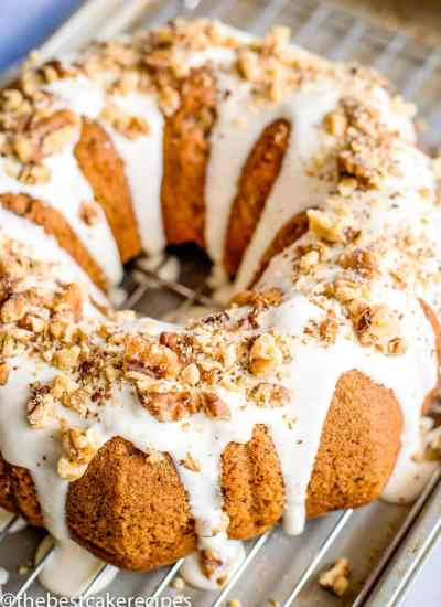 Banana Bundt Cake with walnuts