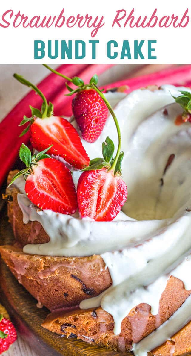 Traditional cream cheese pound cake packed with fresh strawberries and rhubarb. This glazed Strawberry Rhubarb Bundt Cake is an easy homemade cake recipe! via @thebestcakerecipes