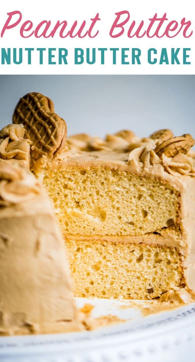 Semi-homemade nutter butter peanut butter cake with from-scratch peanut butter buttercream. Decorate quickly and easily with Nutter Butters for a pretty cake presentation! via @thebestcakerecipes