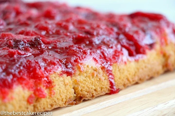 Easy Strawberry Upside Down Cake on a cake plate