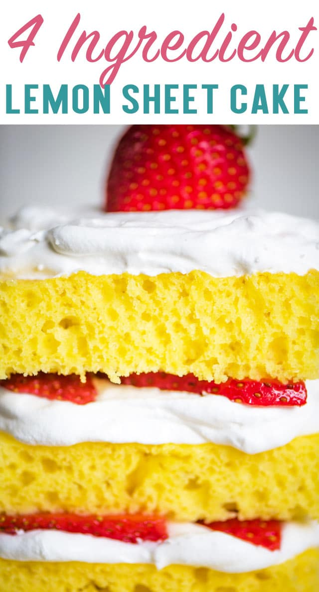 You'll love how fresh this easy 4 Ingredient Lemon Cake tastes! This easy lemon sheet cake can be topped with whipped cream and fruit for a light dessert. via @thebestcakerecipes