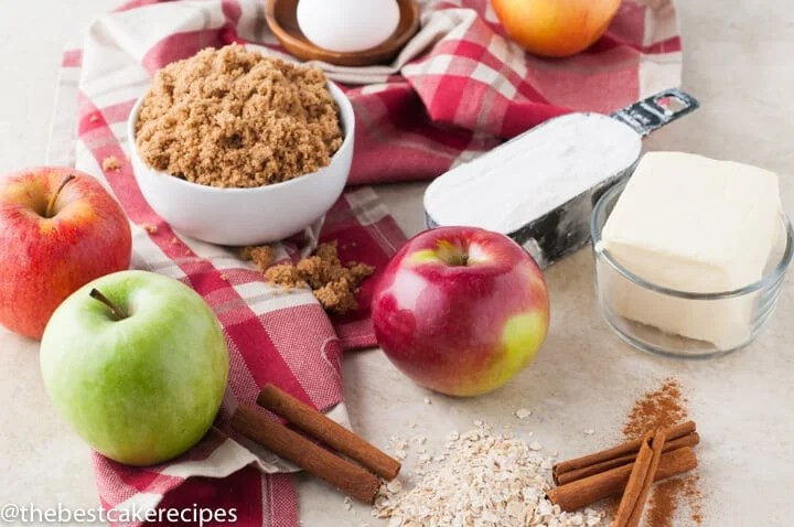 ingredients for apple cake on a table
