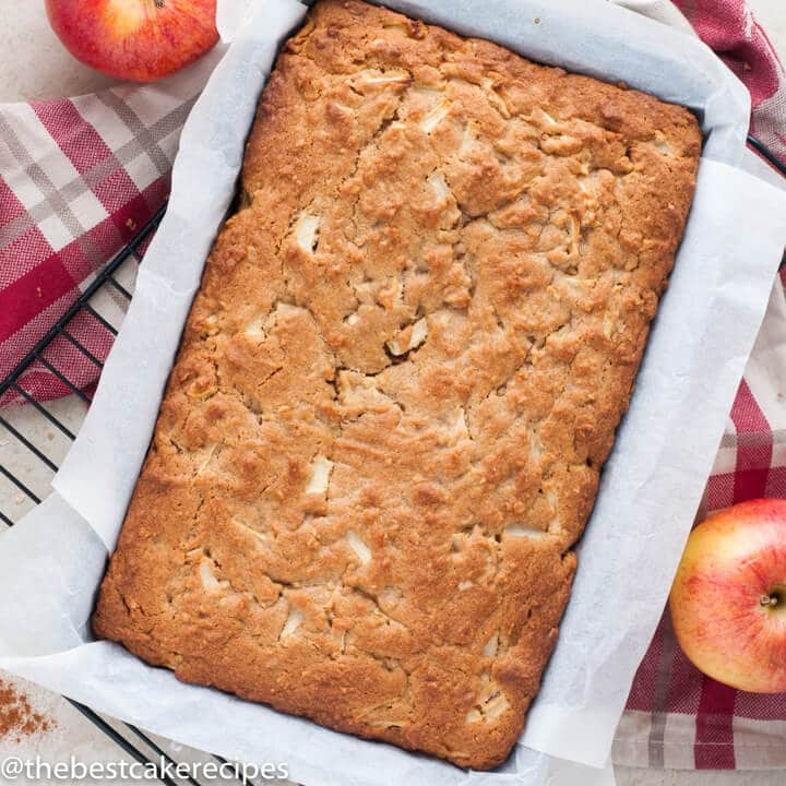 unfrosted apple oatmeal snack cake in a baking pan