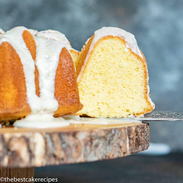 lemon pound cake on a cake stand