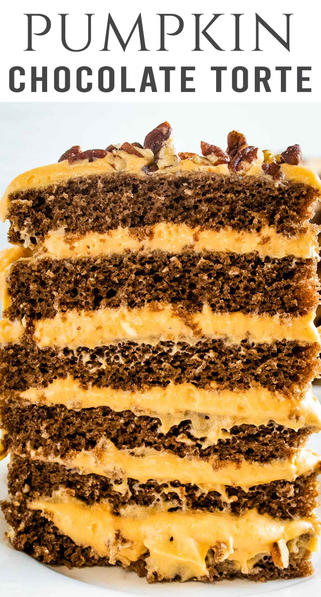 If you're looking for an impressive Thanksgiving dessert, try this Pumpkin Chocolate Torte. Chocolate cake layered with cream cheese pumpkin frosting. #pumpkin #dessert #chocolate #torte via @thebestcakerecipes