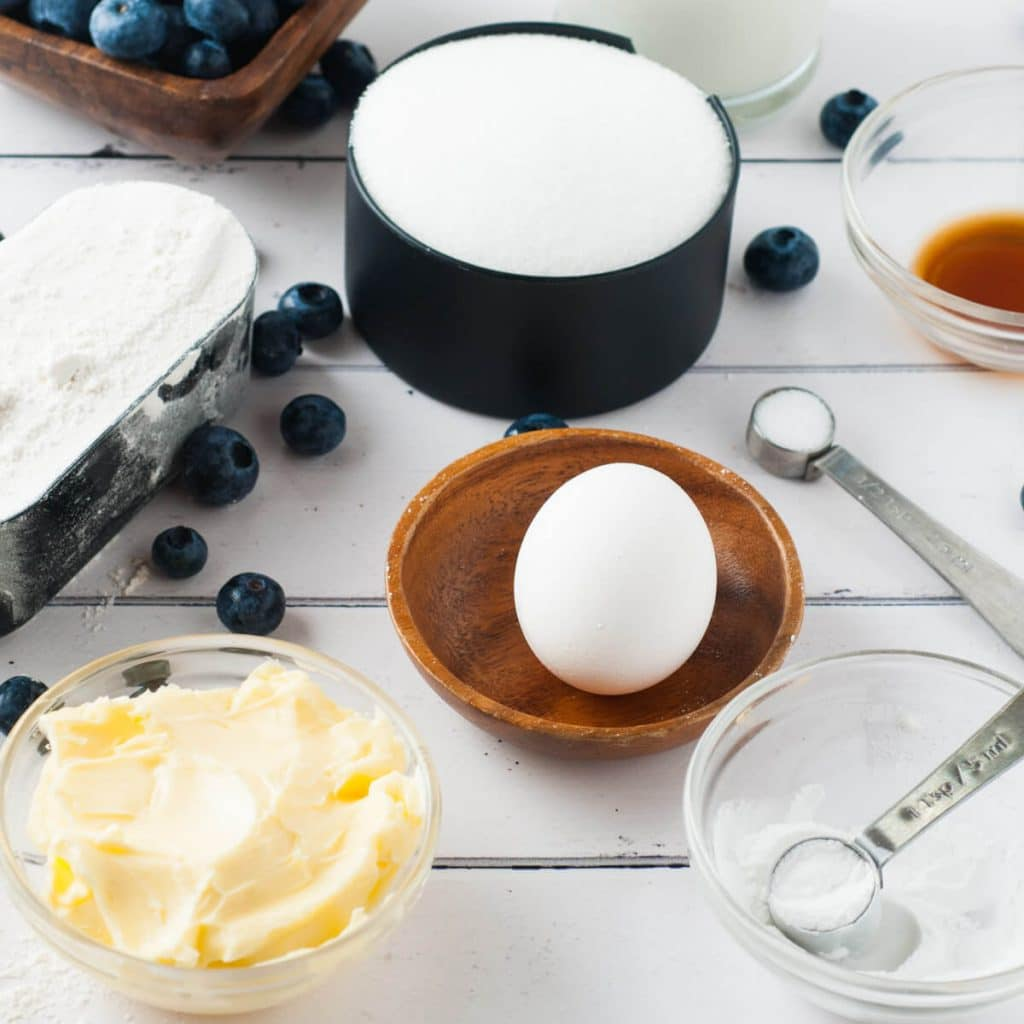 ingredients for Blueberry Buttermilk Breakfast Cake