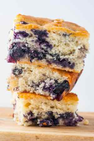 stack of Buttermilk Blueberry Breakfast Cake