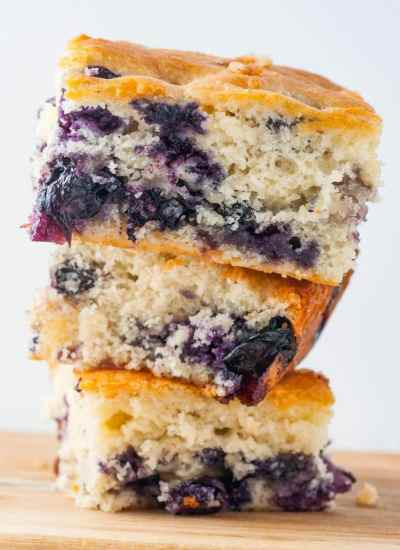 stack of 3 pieces of Buttermilk Blueberry Breakfast Cake
