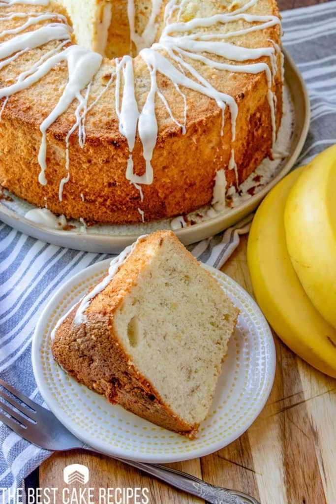 Banana Chiffon Cake on a plate