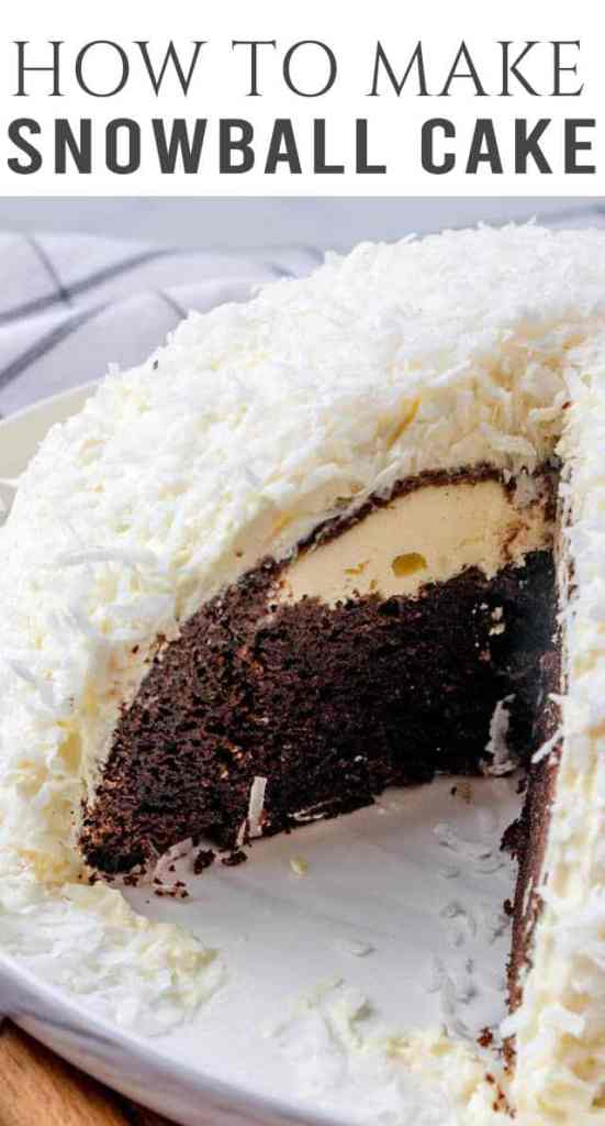 Bring back school lunch memories with this chocolate snowball cake! Baked in a glass bowl, this round cake is covered with pudding frosting and coconut.
