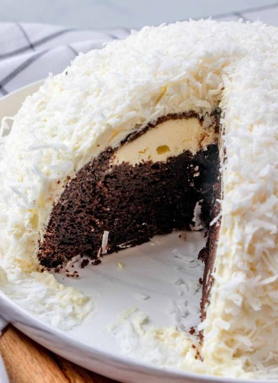 Snowball Cake with chocolate cake