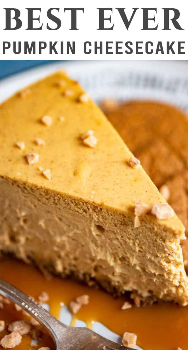 We're sharing the BEST pumpkin cheesecake today! This baked cheesecake is thick and rich with real pumpkin and the perfect amount of pumpkin spice. #pumpkinspice #pumpkin #gingersnap #pie via @thebestcakerecipes