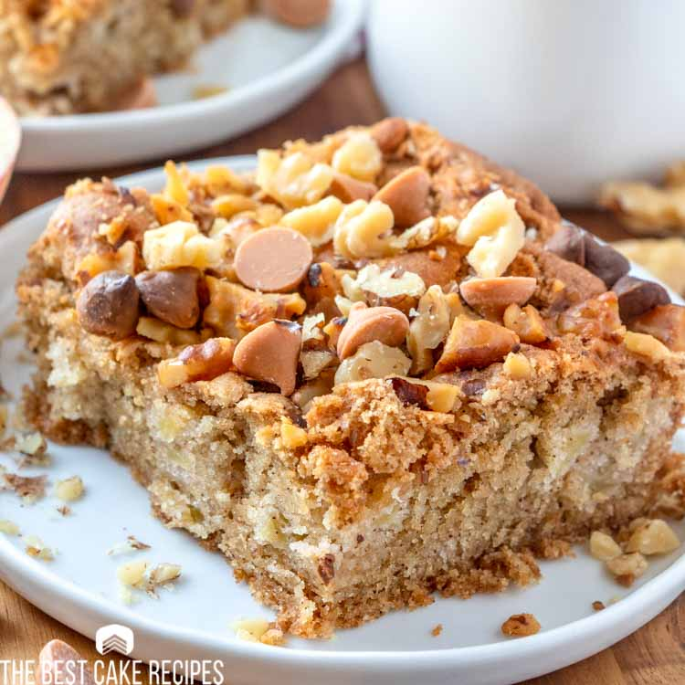 Butterscotch Apple Cake with nuts on a plate