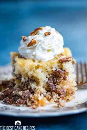 Pecan Pie Cake Recipe with chopped pecans on a plate
