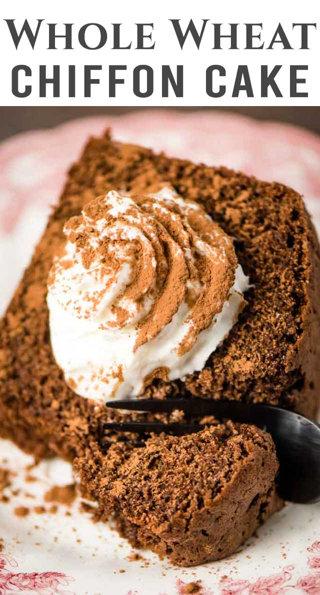 You can feel good about eating this whole wheat chiffon cake! This chocolate chiffon cake is baked with whole wheat flour and raw sugar. Whipped egg whites keep it fluffy. #wholewheat #wholegrain #chocolate #chiffon #cake via @thebestcakerecipes