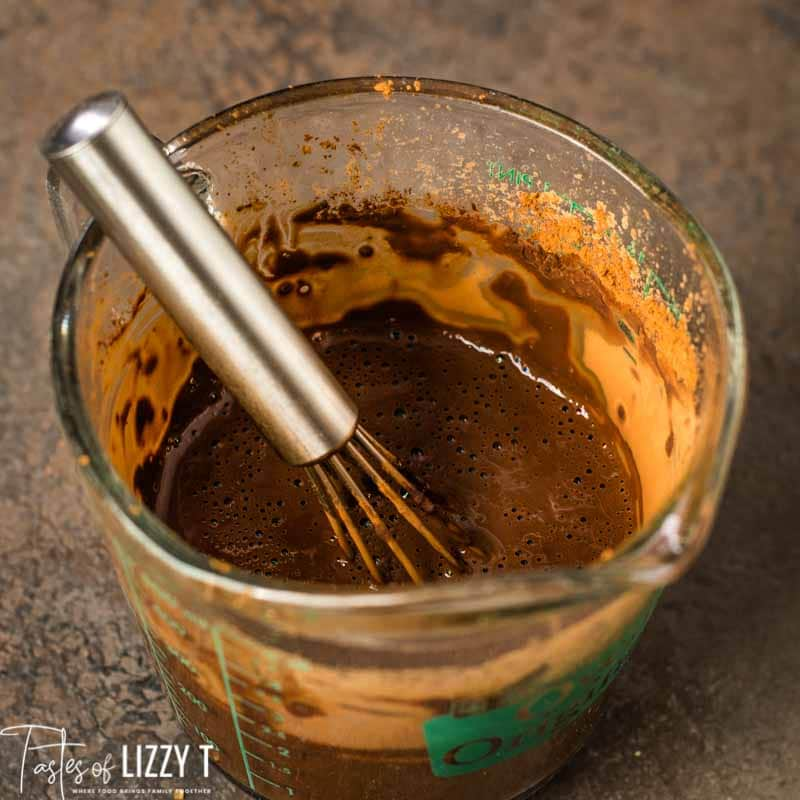 chocolate and water in measuring cup