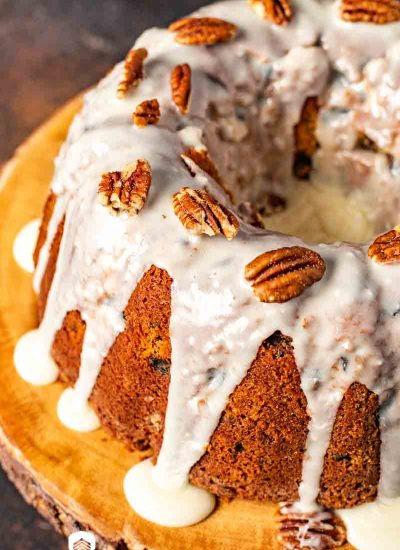 Glazed Pecan Raisin Bourbon Cake