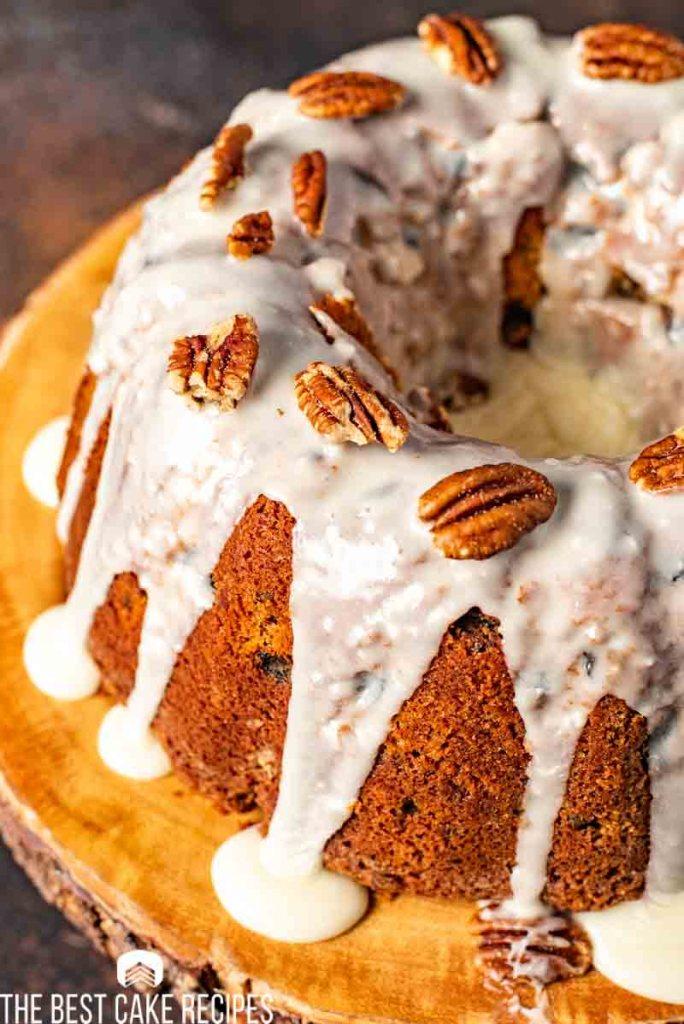 Glazed Pecan Raisin Bourbon Cake