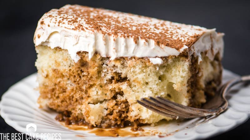 coffee poke cake with cream frosting