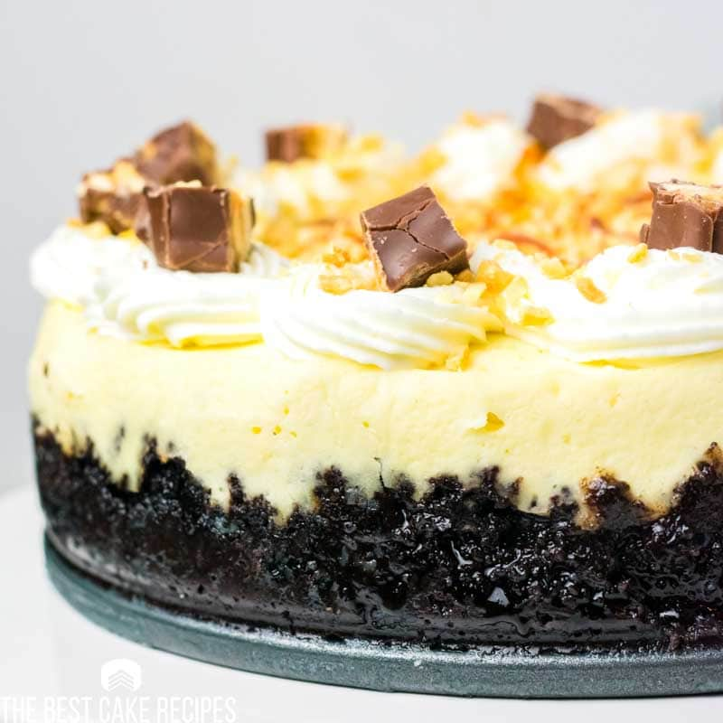 creamy cheesecake with oreo crust and snickers