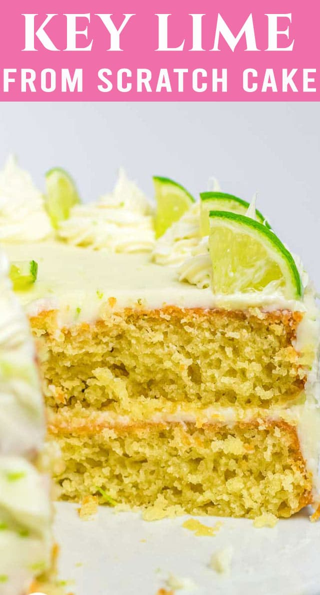 Homemade cake full of sweet & tangy key lime flavor. This 100% from scratch Key Lime Cake with homemade buttercream brings summer days close. via @thebestcakerecipes