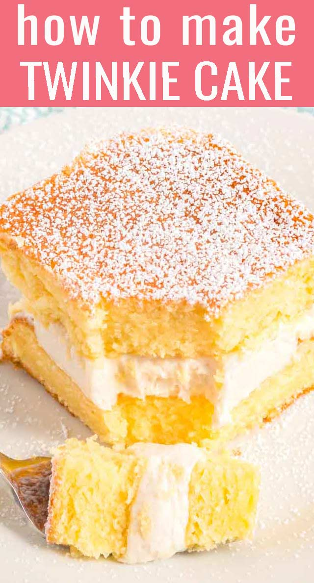 Here's a twinkie like you've never had before! Homemade Twinkie Cake with soft, yellow sponge cake and a creamy cooked flour frosting. via @thebestcakerecipes
