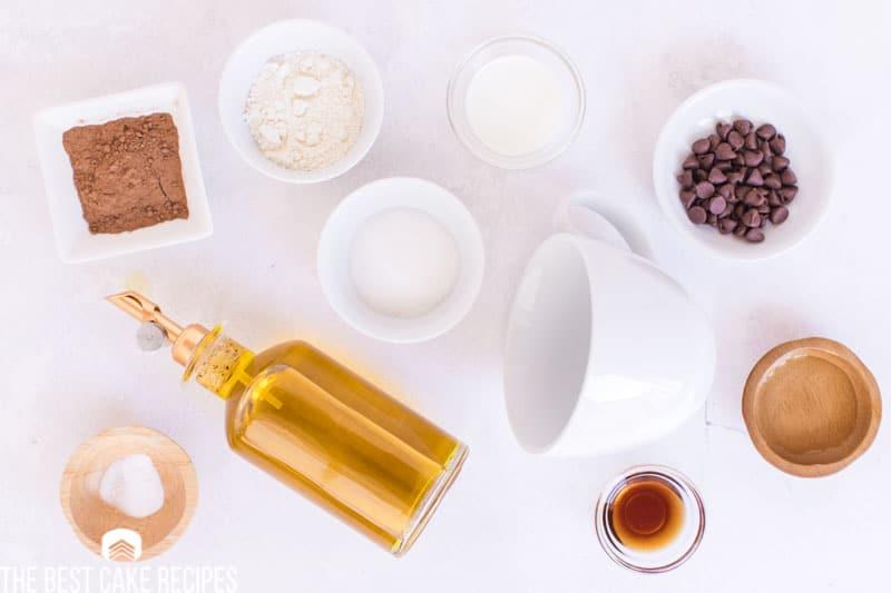 ingredients for chocolate mug cake