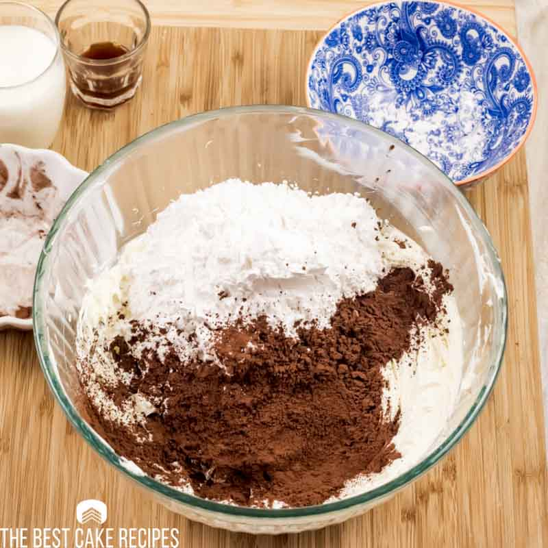 powdered sugar and cocoa powder in a mixing bowl