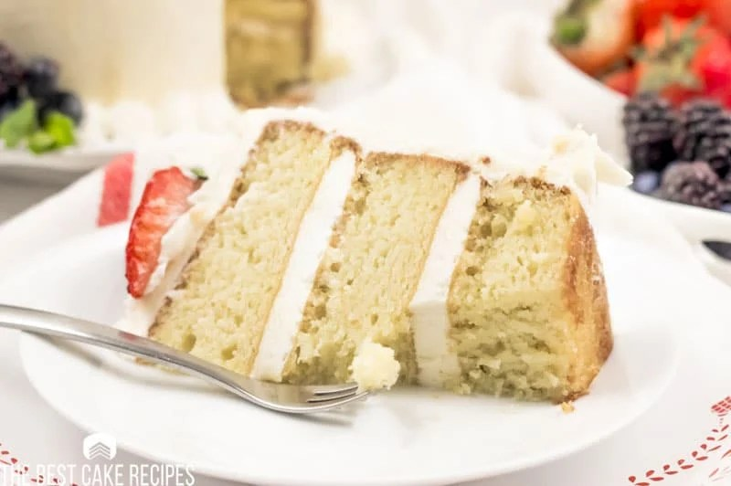 slice of Low Carb Vanilla Cake on a plate