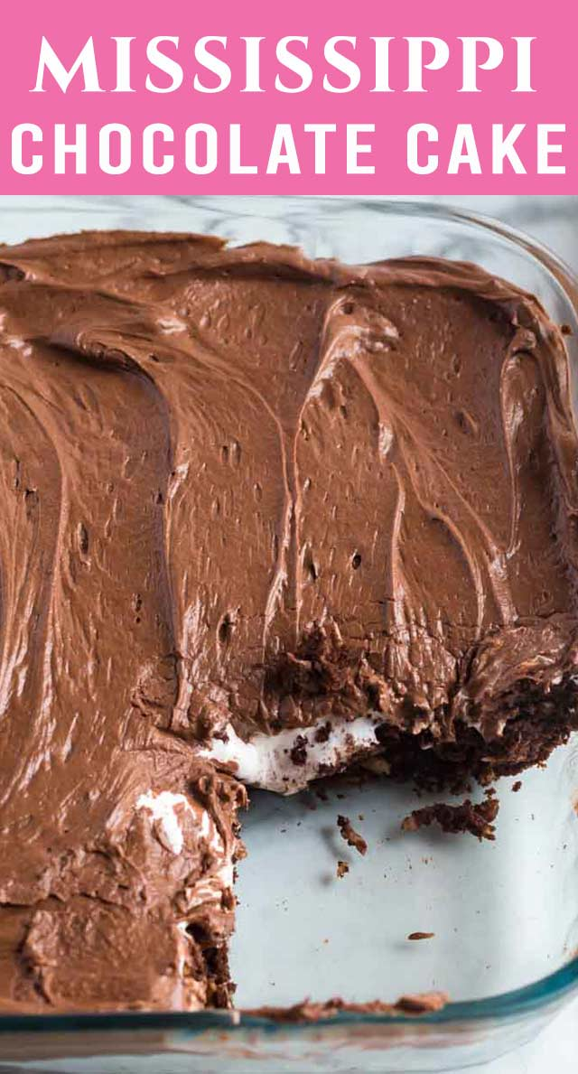 Old Fashioned Mississippi Mud Cake is fudgy and gooey with a marshmallow creme filling. A three layer, 100% from scratch cake that is delicious! via @thebestcakerecipes