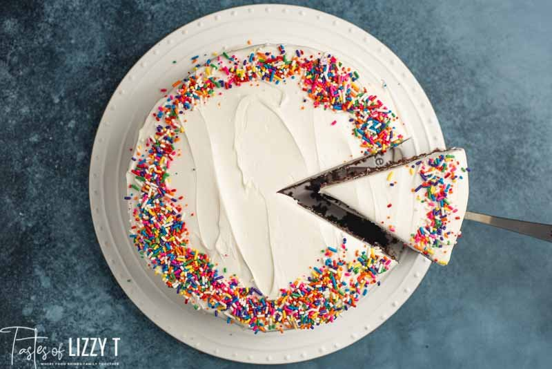 overhead view of sourdough chocolate cake with sprinkles