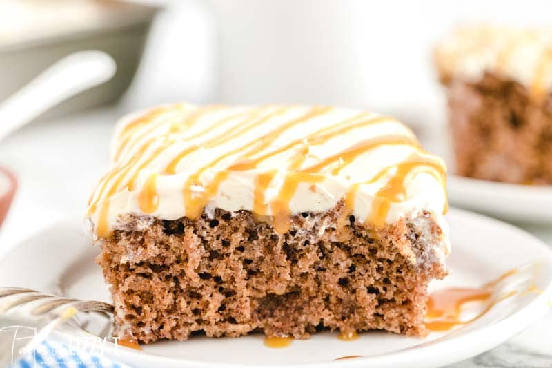 frosted spice cake with caramel