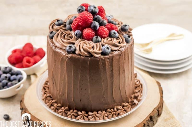 3 layer decorated keto chocolate cake
